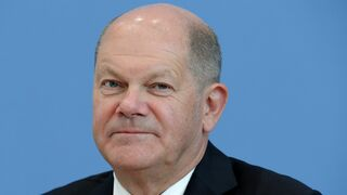 Olaf Scholz looks on during a press conference to present the tax estimate in Berlin, Germany, on May 14, 2020. (Photo by Michael Sohn / POOL / AFP)